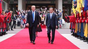 Donald Trumpin ja Etelä-Korean presidentti Moonin lehdistötilaisuus