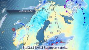 Etelästä leviää Suomeen uusia sateita