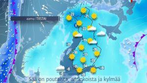Sää: Talvilomaviikko on kylmä ja aurinkoinen