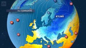 Kylmää ilmaa valuu Keski-Eurooppaan