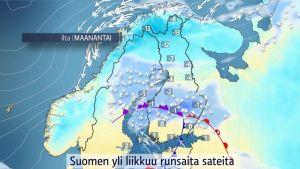 Säänurkka: Runsaita sateita liikkuu Suomen yli, keli paikoin jopa erittäin huono