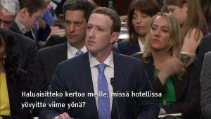 Uutisvideot: Senaattori kysyy Zuckerbergilta hänen hotelliaan