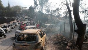 Video: Ateenan itäpuolella olevan kylän asukkaat pakenivat tulta mereen