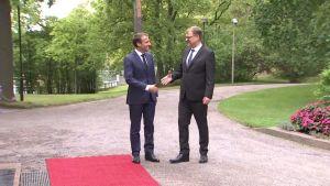 Macron ja Sipilä kävivät Aalto-yliopistossa ja keskustelivat Kesärannassa