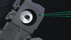 Satelliitti mittaa napa-alueiden jääpeitettä. Lähde: NASA tv
