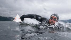 Video: Ensimmäisenä Britannian ympäri uinut mies pääsi maaliin – 157 päivää uimista, meduusatkin polttelivat