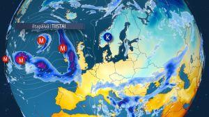 Sääennuste Eurooppaan
