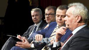 Neljän suuren puolueen puheenjohtajat pääsevät ottamaan toisistaan mittaa vaalitentissä