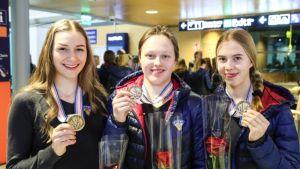 Suomen alle 18-vuotiaiden tyttöjen jääkiekkomaajoukkue palasi yöllä Suomeen