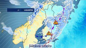 Sää lauhtuu huomattavasti – jäätäviä sateita suureen osaan maata