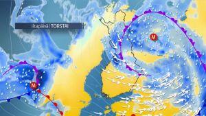 Myrskymatalapaine liikkuu hitaasti Suomen yli