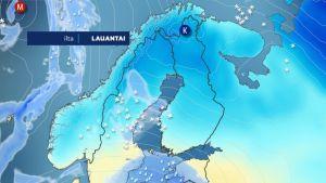 Etelästä leviää Suomeen lumipyry