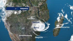 Hirmumyrsky Idai iski Mosambikiin