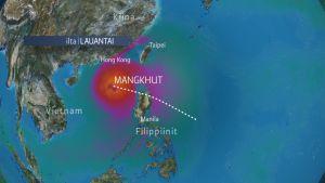 Super-Taifuuni Mangkhut lähestyy Filippiinejä