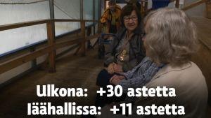 Vanhukset pääsevät hellettä pakoon Säkylän jäähalliin