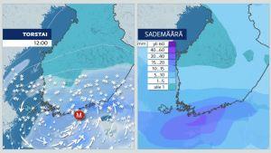 Näin myrsky etenee Etelä-Suomessa
