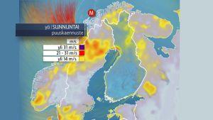 Syysmyrsky rantautuu Suomeen