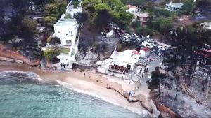 Ilmakuvat paljastavat Kreikan maastopalojen tuhot
