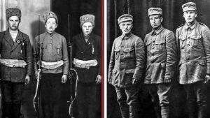 Vasemmalla nuoria punakaartilaisia Tampereella, oikealla valkokaartilaisia Melinin komppaniasta.