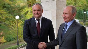 Moldovan presidnetti Igor Dodon tapasi Venäjän presidentin Vladimir Putinin Sotšissa lokakuussa 2017.