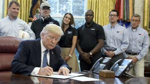 Presidentti Donal Trump allekirjoittaa.