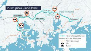 kartta Raide-jokerin reitistä