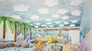 Piirretty hahmotelma kuva Hotelli Leikarin allasosastosta, joka muutetaan vesipuistoksi.