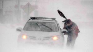 Mies yrittää siirtää lumeen juuttunutta autoa Delawaressa