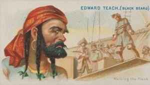 Piirroskuva huivipäisestä merirosvosta, jonka takana miehistö pakottaa vankia lankulle.