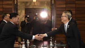 Miehet kättelevät toisiaan neuvottelupöydän yli.
