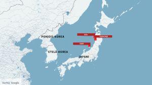Kartta, johon on merkitty Pohjois-Korea, Etelä-Korea sekä Japani.