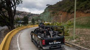 Venezuelan armeijan erikoisjoukot osallistuivat pidätysoperaatioon maan pääkaupungissa Caracasissa 15.1.2018.