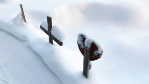 Lemmikkien haudat lumen peitossa
