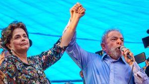Entiset presidentit Luiz Inácio Lula da Silva ja Dilma Roussef mielenosoituksessa.