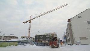 Rakennustyömaa Rovaniemellä 30.1.2018.