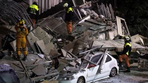 Taiwanin maanjäristyksen tuhoja.
