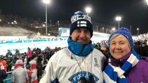 Espoolaiset Juri ja Sari Aapola Pyeongchangin olympialaisissa 2018