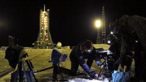 Venäläinen Sojuz-raketti valmiina matkaan kohti kansainvälistä avaruusasemaa.