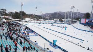Stadionin ulkopuolella eteläkorealainen maasto on lumetonta.