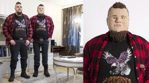 """""""Veli""""-teos ja mallina ollut Veli-Pekka Hietanen seisovat vierekkäin."""