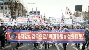 Pohjois-Korean vastainen mielenosoitus Etelä-Korean pääkaupungissa Soulissa.