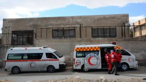 Syyria Damaskos,  Punaisen puolikuun ambulansseja