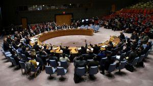 YK:n turvallisuusneuvosto äänesti yksimielisesti Syyrian 30 päivän tulitauosta 24. helmikuuta 2018.