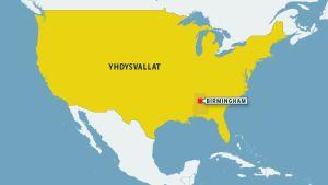 Kartta, josta näkyy Birminghamin sijainti Alabaman osavaltiossa.