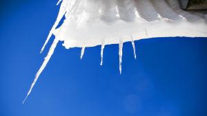 Lumi ja jää valuvat hitaasti katolta kevään koittaessa.