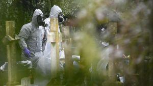 Rikosteknisiä tutkijoita hautausmaalla Salisburyssa 10. maaliskuuta.