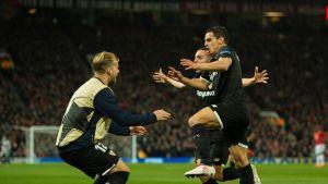 Sevillan Wissam Ben Yedder juhlii maalia.