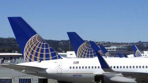 United Airlines -lentoyhtiön koneita San Fransiscon kentällä Yhdysvalloissa.