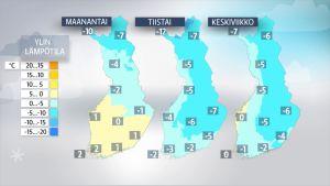 Ylimmät lämpötilat maanantaista keskiviikoon.