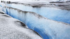 Chilen INACH-instituutin tutkijoita Grey jäätiköllä.